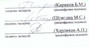 Второй лист - размытые подписи экспертов